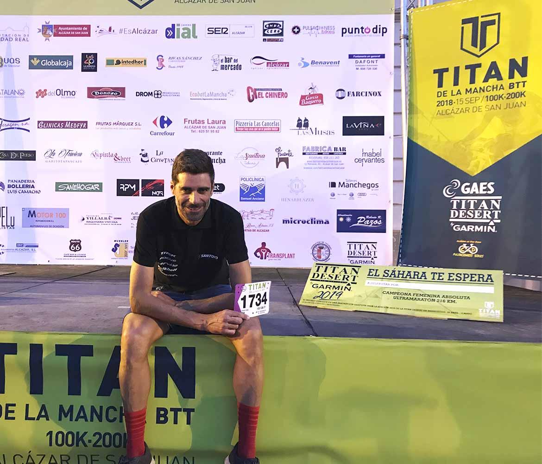 Juan José Simón en el escenario de la carrera de mountain bikes Titán de la Mancha 2018